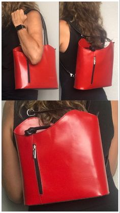 From work to weekend - we love this backpack purse. This versatile handbag has a simple sleek design that is perfect for business and converts to a backpack for more casual weekend wear. This red black combo is striking - available in many colors. #backpackbags #businesscasualoutfits #redbag #pursesandhandbags #shoulderbags #redfashion #italianleatherbag #italianleatherhandbags Casual Weekend, Weekend Wear, Backpack Purse, Tote Bag, Italian Leather Handbags, Red Bags, Business Casual Outfits, Red Fashion, Purses And Handbags