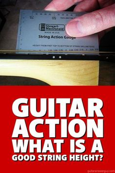 """If you're just starting to play guitar, you may wonder what constitutes a """"high action"""" or """"low action."""" Here, I show you how to measure action (string height) on your guitar and give you common measurements that constitute low, medium, and high action. Guitar Chord Chart, Guitar Tabs, Guitar Chords, Acoustic Guitars, Learn Acoustic Guitar, Music Chords, Ukulele, Guitar Diy, Guitar Songs"""