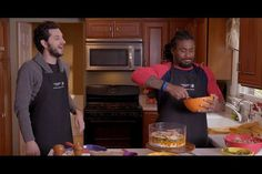 Comedian Ben Schwartz and NFL running back DeAngelo Williams team up to combine everything Thanksgiving dish into one cake. Deangelo Williams, Ben Schwartz, Thanksgiving Cakes, Green Beans, Meals, Dishes, Celebrity Couples, Digital Marketing, People