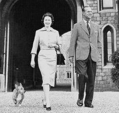 1959: Queen Elizabeth II (Elizabeth Alexandra Mary) (1926-living2013) UK & husband Prince Phillip Duke of Edinburgh (Philip Mountbatten-born Prince Philip) (1921-living2013) Greece by unknown artist.