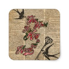 Key to my heart Flowers & Swallows Dictionary Art Square Sticker