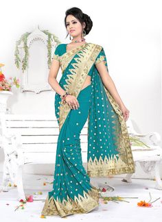 Fabulous Teal Embroidered Georgette Saree
