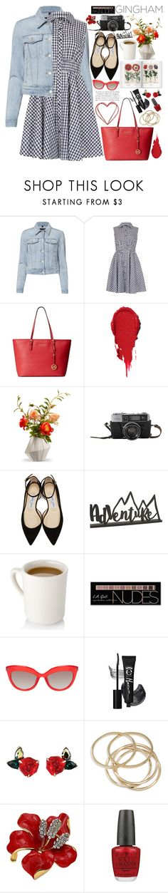 """""""Check Republic: Gingham Dress"""" by martinabb ❤ liked on Polyvore featuring J Brand, Izabel London, Michael Kors, National Tree Company, Jimmy Choo, Charlotte Russe, ABS by Allen Schwartz and OPI"""