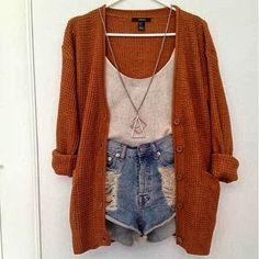 Burnt orange sweater, jean shorts,