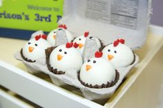 Rooster Cake pops; little blue truck birthday party; farm theme party; farm party ideas; barnyard party ideas