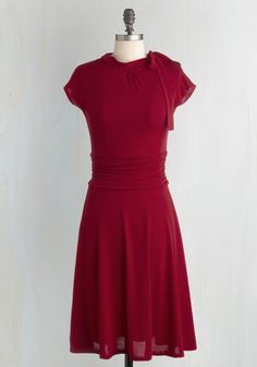 Dance Floor Date Dress in Scarlet - Red, Solid, A-line, Ruching, Short Sleeves, Best Seller, Work, Knit, Valentine's, Full-Size Run, Bows, Long, Better, Colorsplash