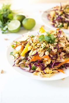 Rainbow Chopped Thai Chicken Salad with a sticky and sweet homemade Thai dressing