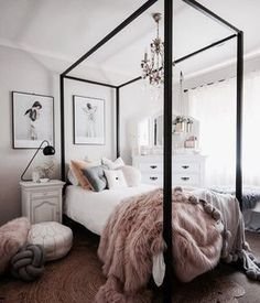 four poster bed in a pastel bedroom fur and pom pom throw pink vibes tasteful art and copper and rose gold details Teen Girl Bedrooms, Teen Bedroom, Bedroom Inspo, Bedroom Decor, Bedroom Ideas, Pastel Bedroom, Girl Rooms, Sweet Home, Four Poster Bed
