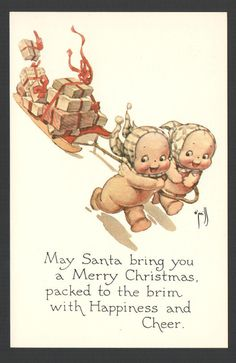 O'Neill Kewpie Postcard Kewpies Pulling Christmas Sled The Ashers Repro 1976 | eBay