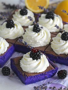 Magic Purple Cake with lavender extract and fresh lemon zest.