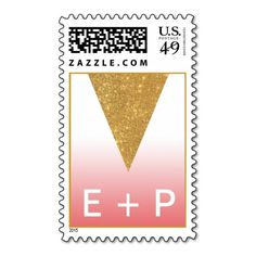 Geometric Gold Triangle Ombre Postage