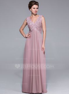 A-Line/Princess V-neck Floor-Length Ruffle Lace Beading Sequins Zipper Up Regular Straps Sleeveless 2014 Other Colors Spring Summer Fall General Plus Chiffon Mother of the Bride Dress