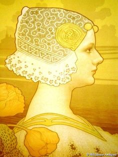 Art Nouveau lithograph portrait of Dutch Queen Wilhelmina (c. 1900) by Paul Berthon.