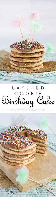 Layered Cookie Birthday Cake - Made with Cake Mix!