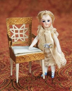 Home At Last - Antique Doll and Dollhouses: 17 French All-Bisque Mignonette with Dramatic Blue Glass Eyes