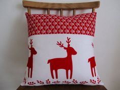 Reindeer Festive Cushion // Red and White by StampAndStitch Uk Shop, Reindeer, Red And White, Festive, Christmas Decorations, Cushions, Throw Pillows, Unique Jewelry, Handmade Gifts