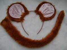 Jerry Mouse Tan Pink Ears & Tail Set Faux Fur Instant Fancy Dress Kids & Adult on eBay!