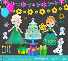 Frozen Fever Sunflower Birthday Clipart Set Instant by araqua Birthday Party Places, Frozen Birthday Party, 4th Birthday, Frozen Fever Party, Simple Collage, Birthday Clipart, Paper Crafts, Clip Art, Png Format