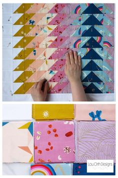 Modern baby quilt. Simple and quick baby quilt pattern using Ruby Star Society fabrics. #rubystarsociety #quilt #babyquilt #simple #beginner Quilting Tutorials, Quilting Designs, Quilt Design, Baby Quilt Patterns, Traditional Quilts, Quilt Making, Baby Quilts, Triangle Quilts, Fabrics