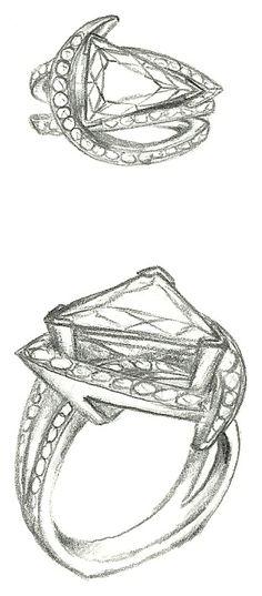 Mark Schneider Design sketch of Luxury engagement ring with a trillion cut diamond center