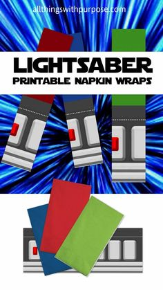 printable lightsaber napkin wraps for a star wars party