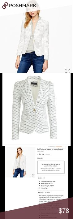 NWT J.crew puff sleeves blazer in triangle dot NWT J. Crew Jackets & Coats Blazers