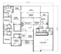 First Floor Plan of Bungalow   Traditional   House Plan 62189