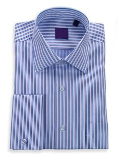 Blue With Navy And Purple Striped Spread Collar French Cuff Cotton Dress Shirt