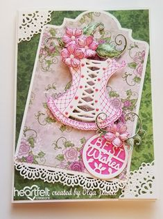 Debuting the Floral Fashionista Collection by Heartfelt Creations Paper Folding Crafts, Paper Crafts, Heartfelt Creations Cards, Tattered Lace Cards, Shabby Chic Cards, Birthday Cards For Men, Birthday Woman, Making Ideas, I Card