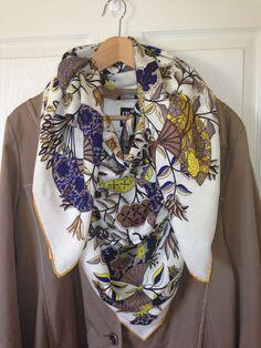 Hermes scarf fleurs et papillons de tissus by henry