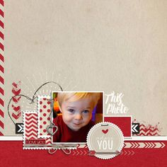 adorable cute #scrapbook page by BessySue at #designerdigitals #love #valentines #krafty #red