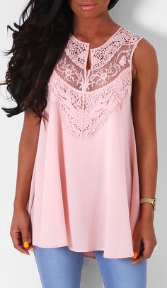 Pink Boutique Aymeline peach lace swing #top http://www.pinkboutique.co.uk/new-in/aymeline-peach-lace-swing-top.html #pinkboutique