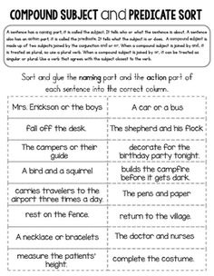 Compound Subject and Predicate Sort by Rock Paper Scissors | TpT