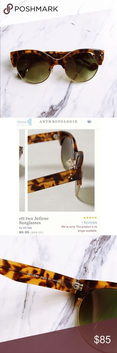 NWOT Anthropologie Tortoise Sunglasses ett:twa for Anthropologie Jetlene sunglasses. Perfect condition, never worn. I loved them when I bought them but I just don't like how they look on my face anymore. Fantastic shades for fall! Anthropologie Accessories Sunglasses