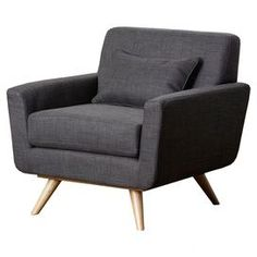 """Showcasing a tufted back and splayed legs, this midcentury-chic arm chair adds crisp appeal to your living room or home library.  Product: ChairConstruction Material: Hardwood and fabricColor: GrayFeatures: Tufted back designDimensions: 32"""" H x 34"""" W x 34"""" DNote:  Pillow not included"""