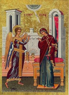 Eastern orthodox icon of Annunciation, Evangelismos of the Most Holy Theotokos, Panagia, Virgin Mary, the Mother of God in Silkscreen. Commemorated March This beautiful icon is made with the specific technique of silkscreen on real gold foil. Byzantine Icons, Byzantine Art, Religious Icons, Religious Art, Church Icon, Noli Me Tangere, Roman Church, Religious Paintings, Orthodox Icons