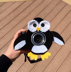 Penguin lens buddy, shutter buddy, lens critter, camera, lens, photography prop  https://www.etsy.com/listing/277242004/lens-buddy-penguin-camera-lens-buddy