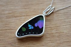Real butterfly wing necklace - Real butterfly necklace - silver butterfly necklace - real butterfly - Purple necklace - purple wings by SilverTemptation on Etsy