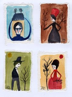 Miniature water colour folk painting Spotted by JessQuinnSmallArt
