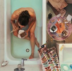 "Lee Price - Self Portrait in Tub with Chinese Food  Oil on Linen, 44"" x 44"""