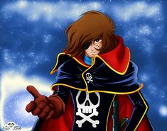 Captain Harlock/Albator original character by Leiji Matsumoto [Captain Harlock] Come with me ! Space Pirate Captain Harlock, Captain My Captain, Science Fiction Art, A Comics, Comic Art, Pirates, Anime Art, Disney Characters, Fictional Characters