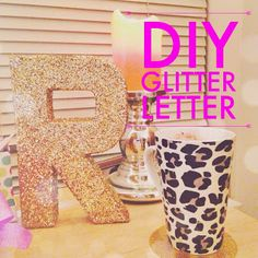 Add some sparkle to your dorm with this perfect desk accessory! DIY Glitter Letter