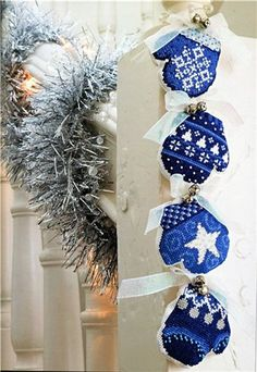 I love the little mittens & bells. Such a perfect holiday decoration
