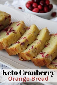 This Keto Cranberry Orange Bread is simple to make flavorful moist and delicious. A perfect bread to make in the winter! This Keto Cranberry Orange Bread is simple to make flavorful moist and delicious. A perfect bread to make in the winter! Desserts Keto, Keto Snacks, Diabetic Snacks, Keto Foods, Easy Bread Recipes, Low Carb Recipes, Lunch Recipes, Flour Recipes, Cranberry Recipes Low Carb