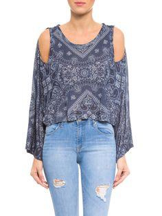 Blusa Feminina Vazado Bandana Veraneio - Farm - Azul  - Shop2gether
