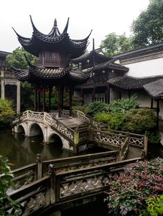 https://flic.kr/p/vuEkq3   Pagoda and the Bending Bridge.jpg   Hu Family Mansion Welt, Ancient Chinese Architecture, Chinese Buildings, China Architecture, Chinese Garden, Chinese Art, Tibet, Landscaping Ideas, Backyard Landscaping