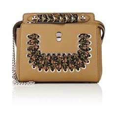 Fendi Women's Dot.Com Small Satchel (143,725 PHP) via Polyvore featuring bags, handbags, green, handbag satchel, chain strap handbags, brown handbags, brown satchel purse and fendi purse