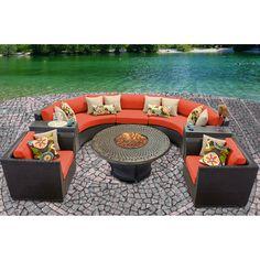 TK Classics Barbados Outdoor Wicker 8 Piece Deep Seating Group with Cushion Fabric: Aruba Outdoor Wicker Patio Furniture, Fire Pit Furniture, Patio Furniture Sets, Outdoor Decor, Outdoor Living, Outdoor Spaces, Outdoor Ideas, Outdoor Patios, Wicker Sofa