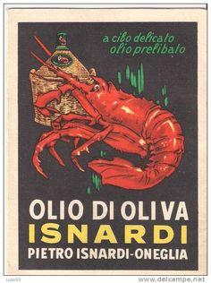 Pieghevole Olio d'oliva Isnardi (Oneglia, Imperia - Liguria).  vintage depliant olive oil #essenzadiriviera.com