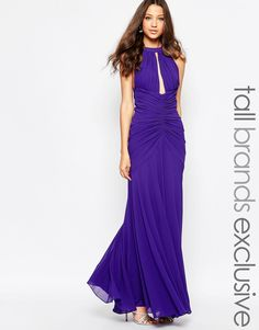 Image 1 ofJarlo Tall Keyhole Halter Maxi Dress With Ruched Detailing